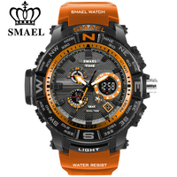 Men Sport Watches SMAEL Brand Dual Display Watch Men LED Digital Analog Electronic Quartz Watches 30M