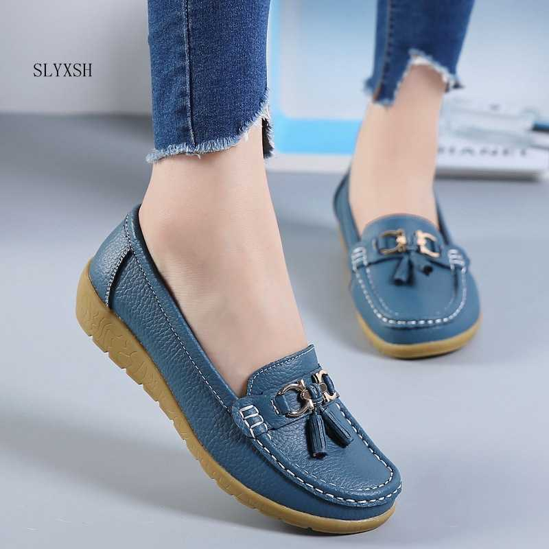 SLYXSH 2019 Spring Autumn Shoes Woman Cow Leather Flats Women Slip On Women's Loafers Female Moccasins Shoe Large Size 35-43