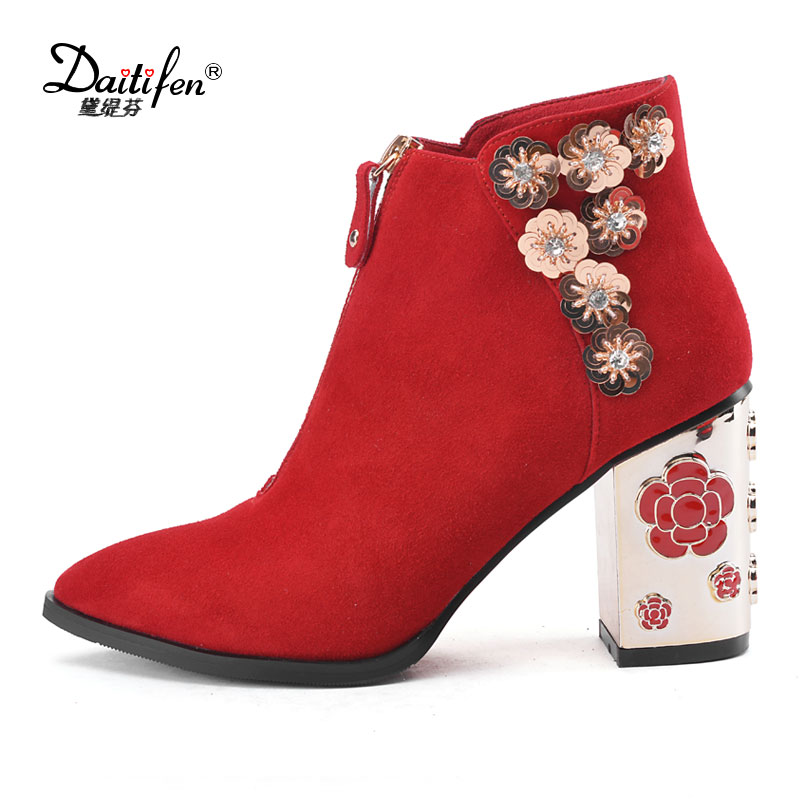 Daitifen Genuine Leather Suede Size 34-43 Women Printing Flower Autumn Winter Shoes High Heels Pointed Toe Wedding Ankle Boots qplyxco 2017 new big size 34 47 ankle boot short autumn winter sexy women s pointed toe high heels wedding party shoes 584 2