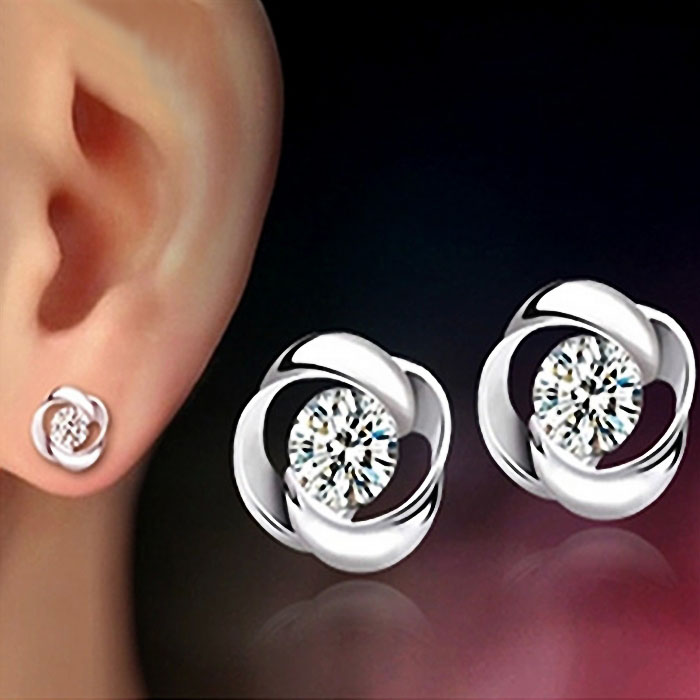 1Pair Beautiful Silvering Crystal Shiny Ear Stud Earrings Women Fashion Fashion Women Girl Jewelry Ornaments Headgear