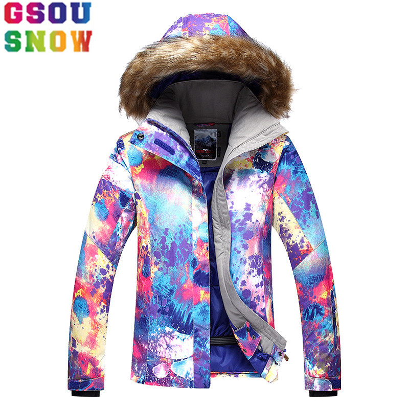 Gsou Snow Ski Jacket Women Snowboard Jacket Winter Waterproof Cheap Ski Suit Flee Hooded Outdoor Skiing Camping Sport Clothing gsou snow ski suit women skiing jacket snowboard pants winter waterproof outdoor cheap ski suit ladies sport clothing 2017 coat