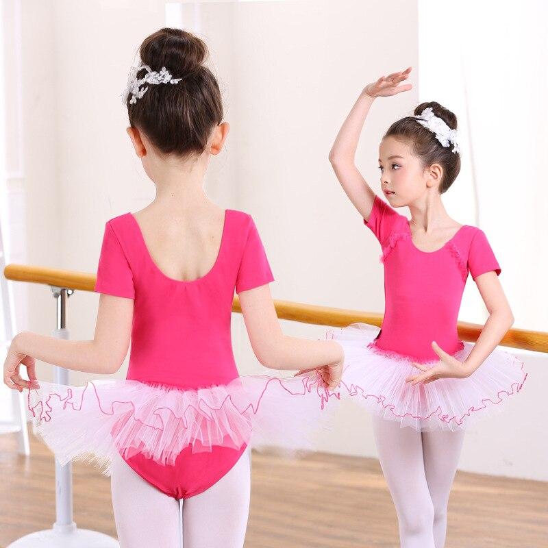 343eb595e Short Sleeved Girls Ballet Tutu Dress Leotards Skirt Fluffy ...