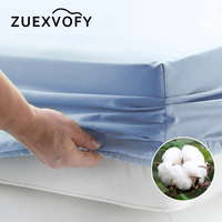 Pure Cotton Luxury Solid Fitted Sheet Bedsheet Bed Sheet With Elastic Band Linens Bedding Sheets Mattress Cover 160x200 White