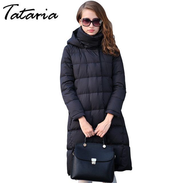 Womens Down Jackets Long Coats Hooded Warm Parkas For Women ...