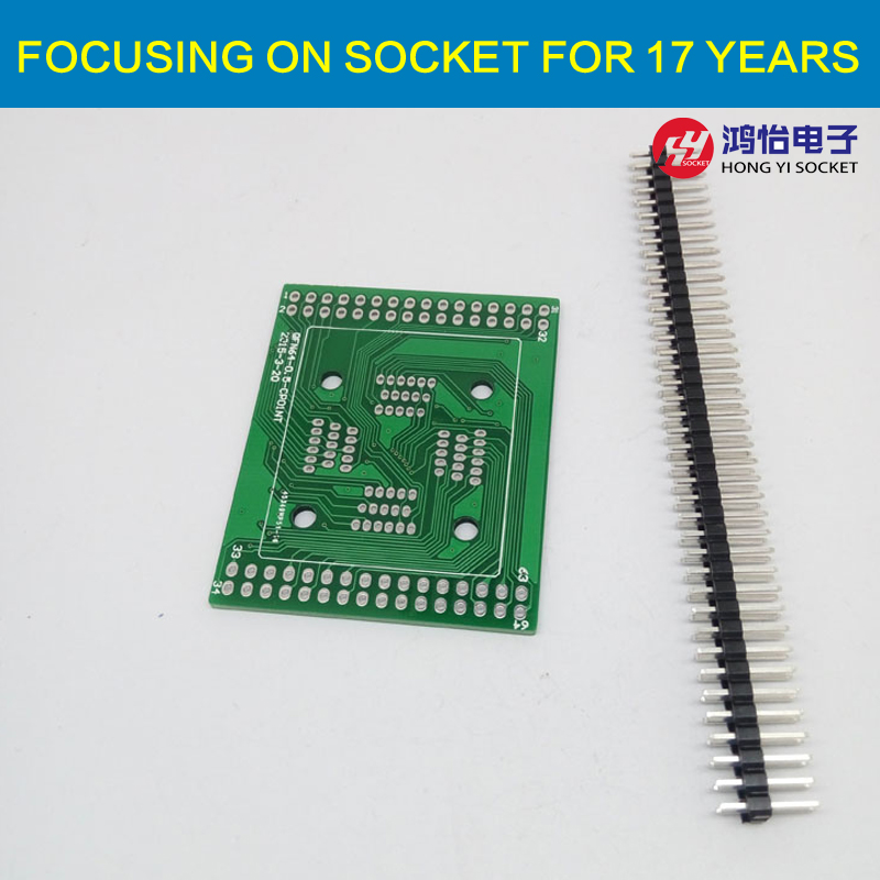 PCB Board for QFP64 TQFP64 LQFP64 Clamshell Structure Programming Socket Breakout board tms320f28335 tms320f28335ptpq lqfp 176