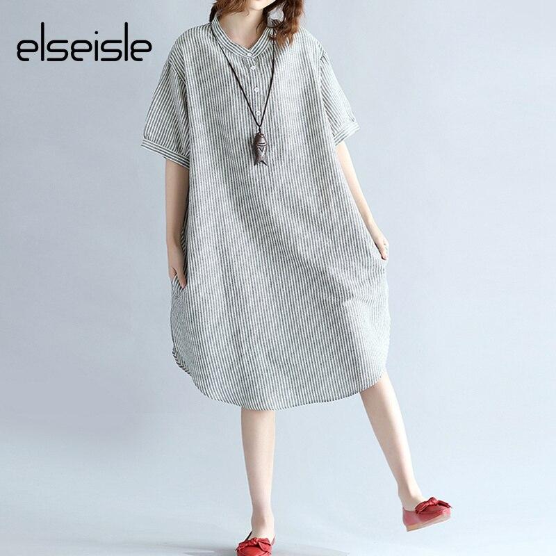 49eb4b9a50e Elseisle femmes rayé robe chemise 2017 été décontracté coton lin manches  courtes noir et blanc chemise rayé robe coréenne dans Robes de Mode Femme  et ...