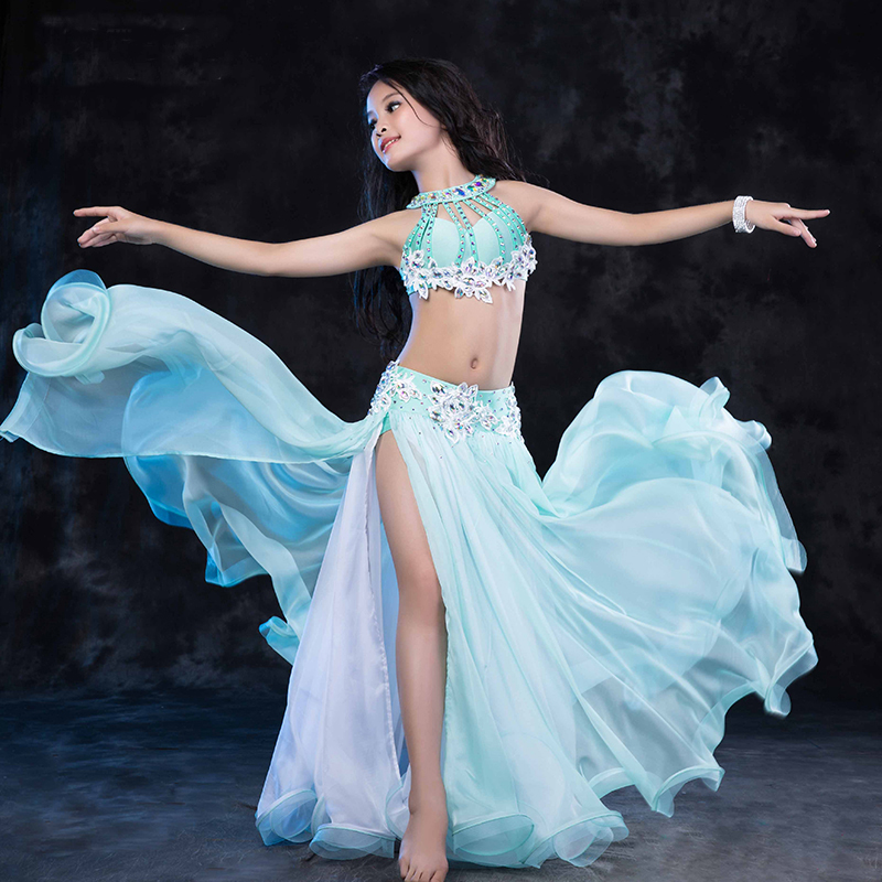 Belly Dance Costumes For Kids Luxury Level Oriental Dance Girls One Split Skirt Belly Dancing Suits Clothes Performance 2 Pieces
