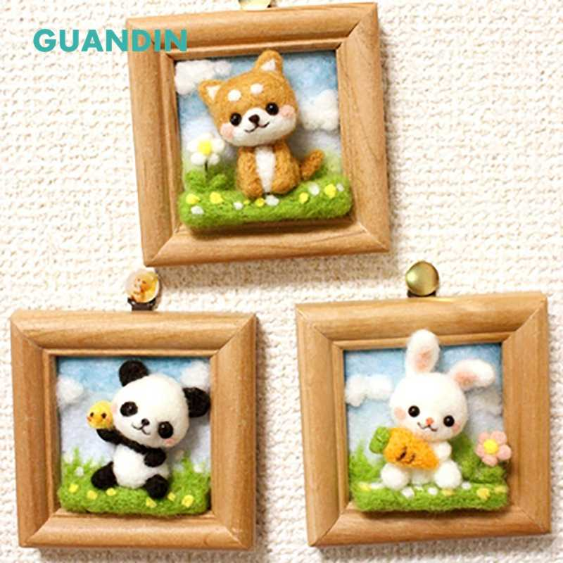 GUANDIN,Semi-finished Handmade Wool Felt for DIY for Cat/Dog/Rabbit/Panda,Without Photo Frame,Soft & Skin-friendly,Colorful