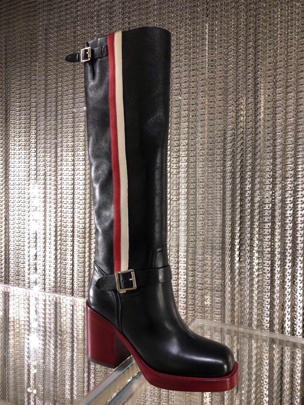 Cuir Slip Hiver Équitation Themost Haute Chaussures Punk Britannique Véritable Equestr Bottes Boucle Femme Automne on Genou Femmes f4qnw4xAzP