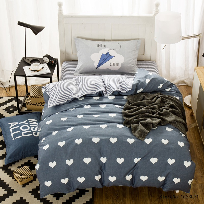 TUTUBIRD 3pcs blue heart shaped bedding set cartoon kids duvet cover twin size bed sheet bedspread bed linen housse de couette ...
