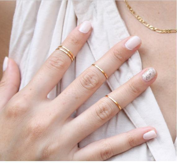 New Women Fashion Gold Silver Rose Metal Fine Every Rings Finger Ring Stacking M