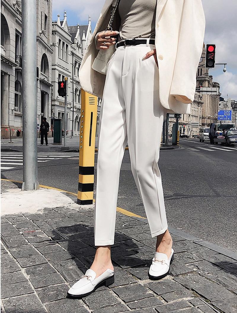 BGTEEVER OL Style White Women Pants Casual Sashes Pencil Pant High Waist Elegant Work Trousers Female Casual pantalon femme 18 5