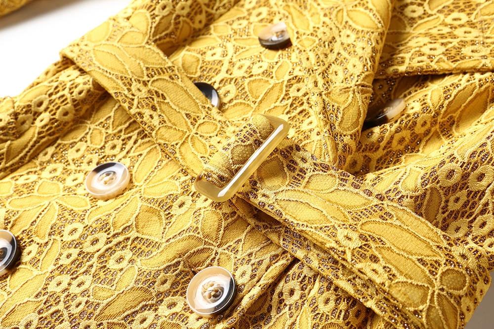 White Qualité Broderie yellow Femmes Tranchée Printemps 2018 De Double Breasted Long Automne Mince Coupe vent Outwears Dentelle Manteaux Luxe Haute Manteau Ac3Lqj54RS
