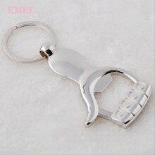 Портативный автомобильный брелок, ручная форма, высококачественный брелок для ключей, открывалка для бутылок, серебряное кольцо для ключей, лучший подарок, автомобильные аксессуары
