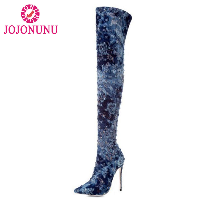 JOJONUNU Fashion Brand Winter Shoes Women Thin High Heels Over Knee Long Boots Women Sexy Pointed Toe Elastic Botas Size 33-43 стоимость