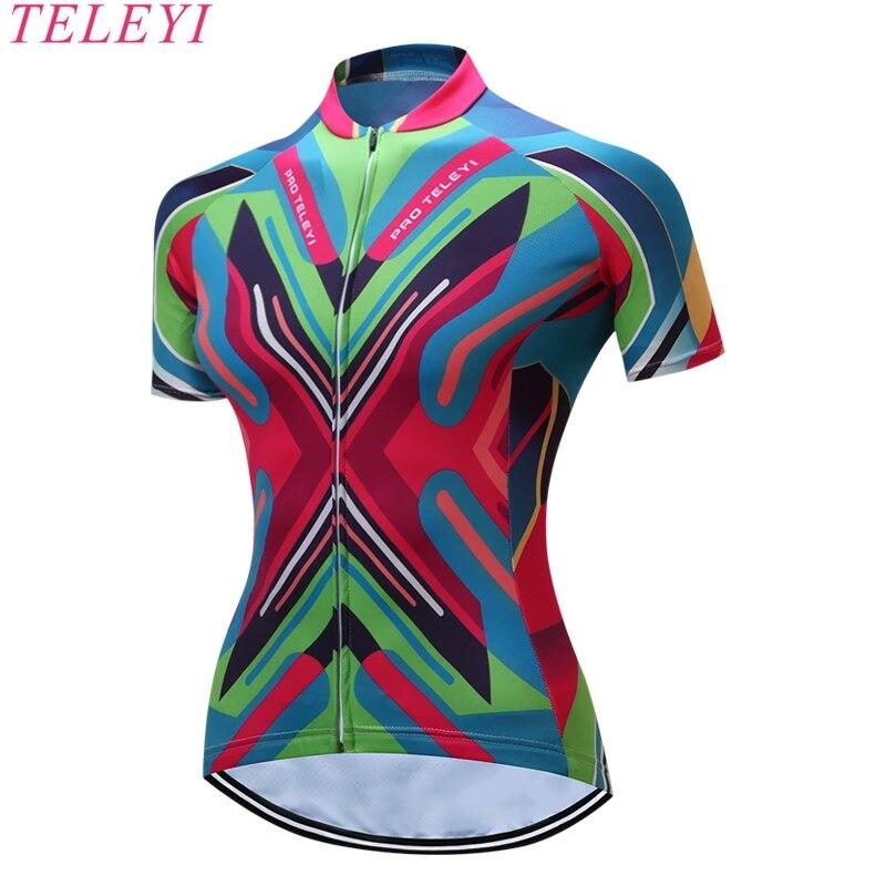 TELEYI New Women Pro MTB Bike Sportswear Cycling <font><b>Jersey</b></font> Clothing Maillot Ropa Ciclismo Racing Bicycle Short Sleeve <font><b>Jersey</b></font> No.12