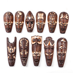 Indonesia Imported Manual Solid Wood Carving Wall Hanging Home Decoration Primitive Southeast Asia art Bar hotel Mask