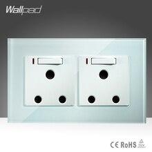 Двойной 16А UK Включен Гнездо Wallpad Белый Стекло 146*86 мм 16А ВЕЛИКОБРИТАНИИ Южная Африка Розетки и переключатель с LED