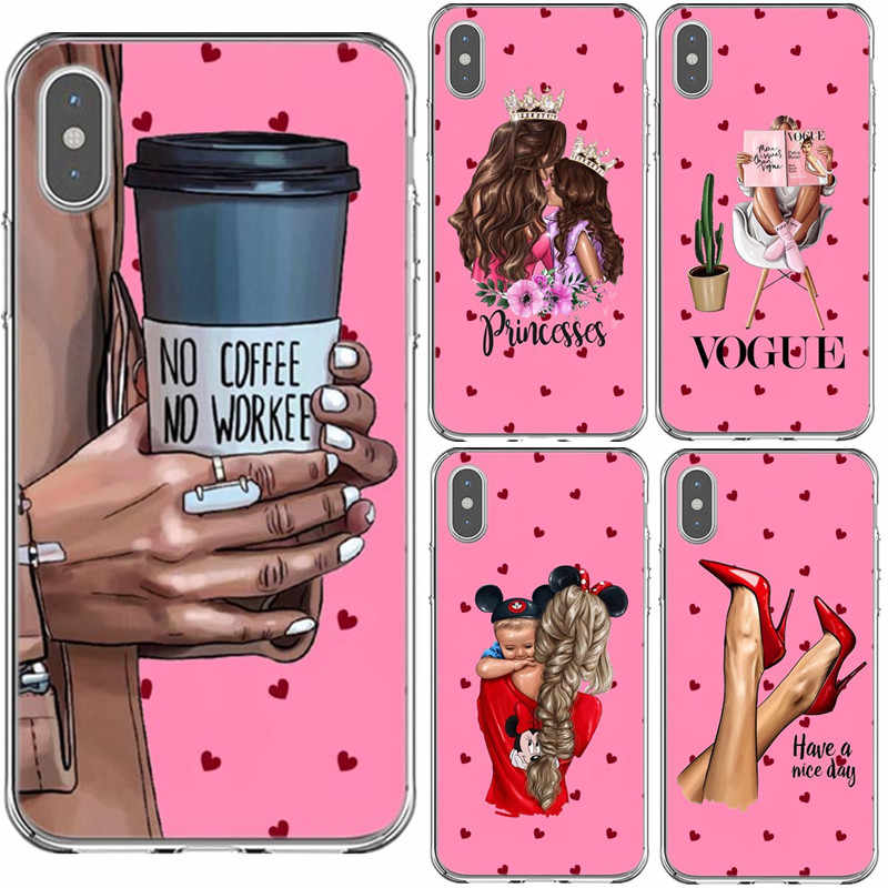 PinkPrincess 女の子女性 boss コーヒーソフトシリコン TPU 電話ケース iphone 5 S 、 SE 6 6 s プラス 7 8 プラス X XS XR XS 最大裏表紙