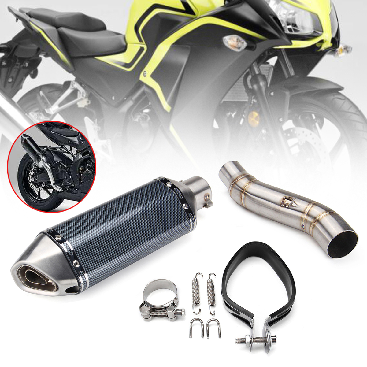 цена 51mm Motorcycle Exhaust Muffler Slip On Middle Pipe For Honda CBR300R CB300F Mid Link Pipe Pluse Exhaust Pipe Stainless Steel онлайн в 2017 году