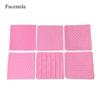 Facemile 6PCS Knitting Silicone Mold Texture Mat Sugarcraft Cake Border Decoration Cupcake Topper Polymer Clay Gumpaste