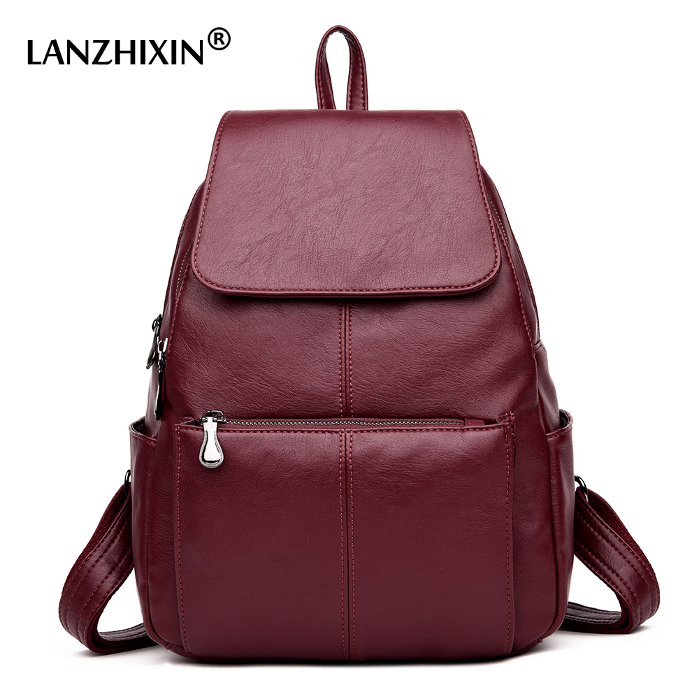 Lanzhixin 2018 High Quality  Backpacks New Shoulder Bag Female Vertical Stripes Youth Leather Student Bags Travel Backpacks 6021