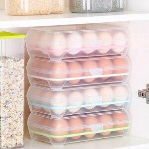 3 Pcs Egg Storage Box Egg Tray containers Kitchen Refrigerator 15 Grids Eggs Plastic Dispenser Airtight Fresh Preservation(China)