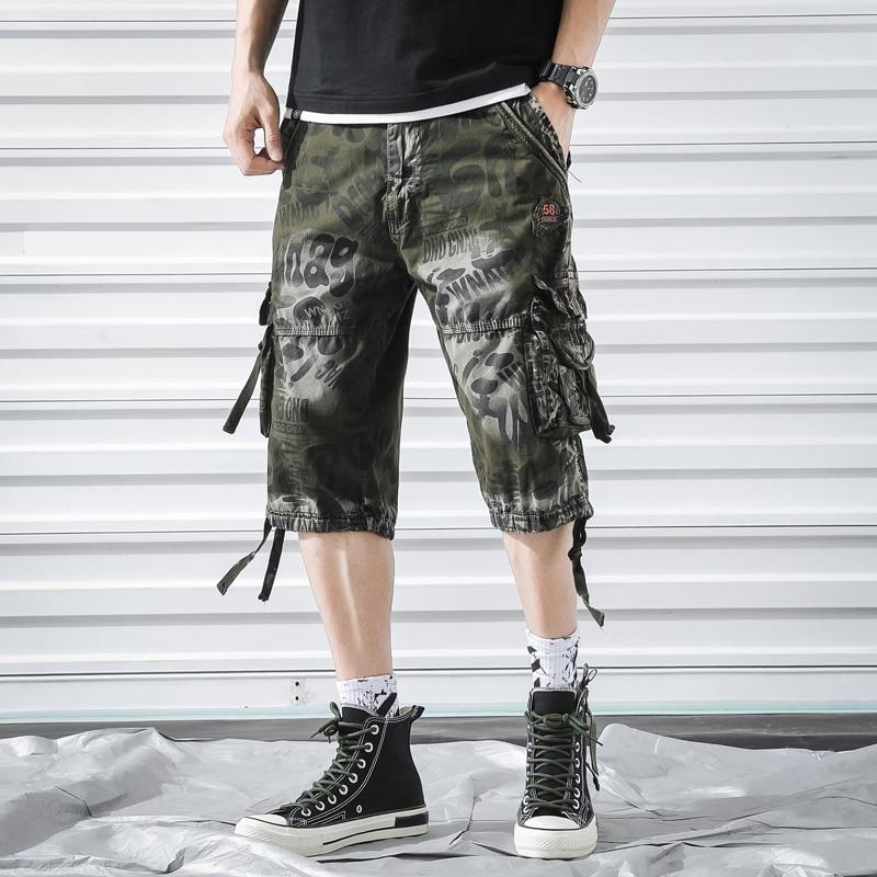 Camouflage Cargo Shorts Men 2019 Summer Camo Side-pockets Casual Mens Shorts Cotton Outdoor Men Short Pants