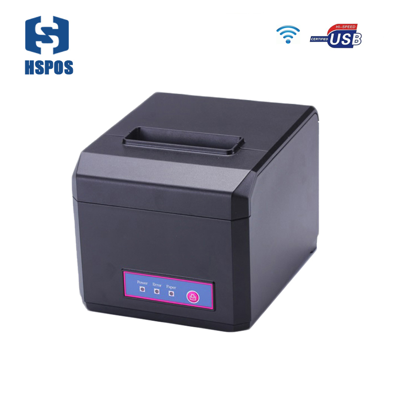 pos 80mm thermal receipt printer Support esc/pos commands usb and WIFI port multi language HS-E81UW also support 58mm paper roll