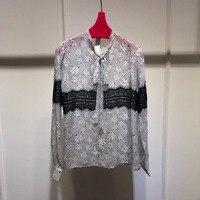 2019 высокое качество дамы ретро элегантный в горошек лук печати длинный рукав блузка 0311