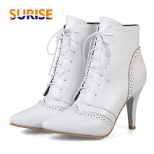 British Women Ankle Boots PU Leather 9cm High Thin Spike Stiletto Heel Pointed Toe Vintage Winter Lace Up Lady Short Martin Boot цена и фото