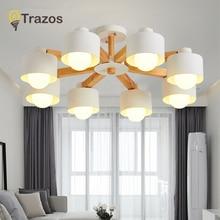 купить TRAZOS Nordic 220V LED Chandelier With Iron Lampshade For Living Room Modern Wooden Lustres Wood Foyer Chandelier Lighting дешево