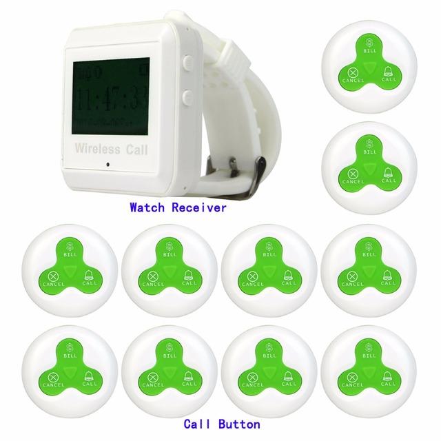 433 MHz Restaurante Sem Fio Chamando Sistema de Paginação de 1 pcs Relógio de Pulso Receptor Anfitrião + 10 pcs Verde Chamada Botão do Transmissor F3258