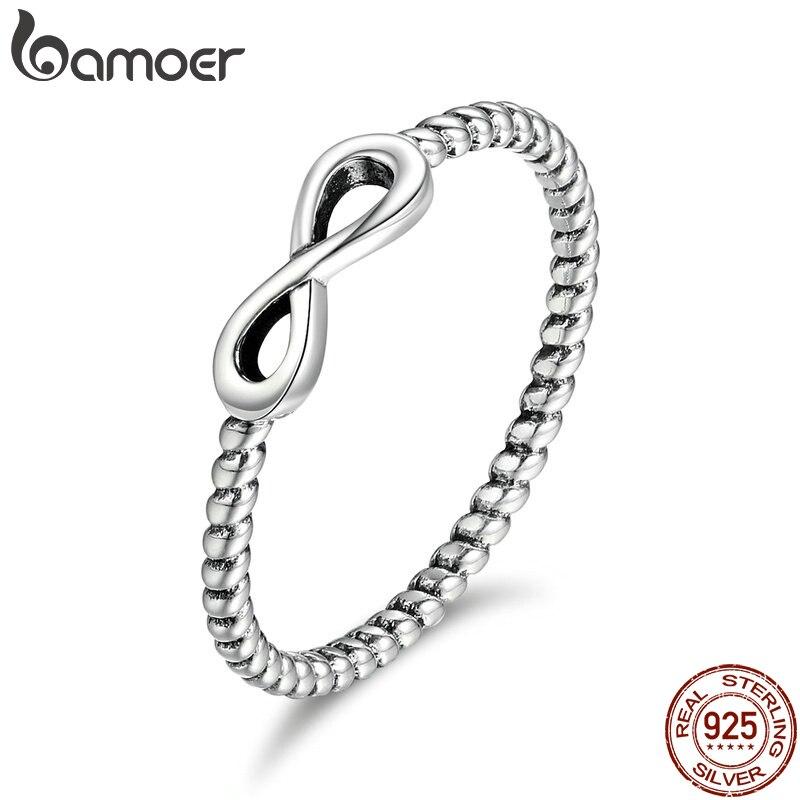 BAMOER Hot Sale 100% 925 Sterling Silver Trendy Infinity Elegant Finger Rings for Women Wedding Engagement Jewelry Gift SCR094