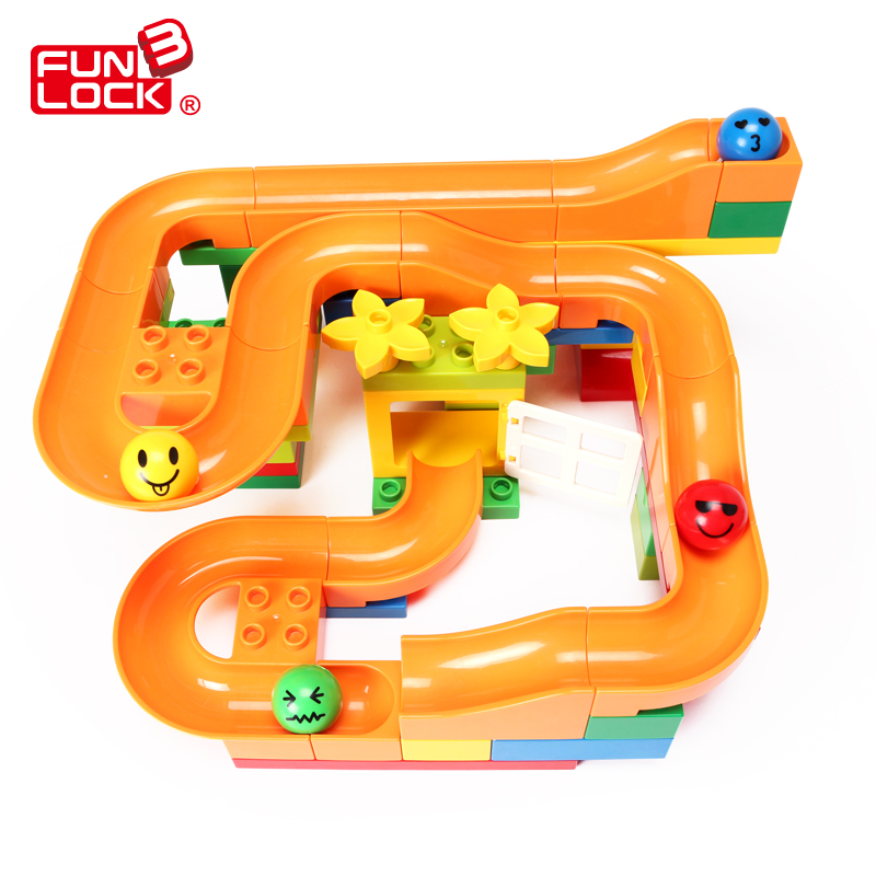 Funlock Duplo 33 pcs Marble Run Funny Plastic Slide Toys Blocks Creative Building Set Educational Gift for Children Kids стоимость