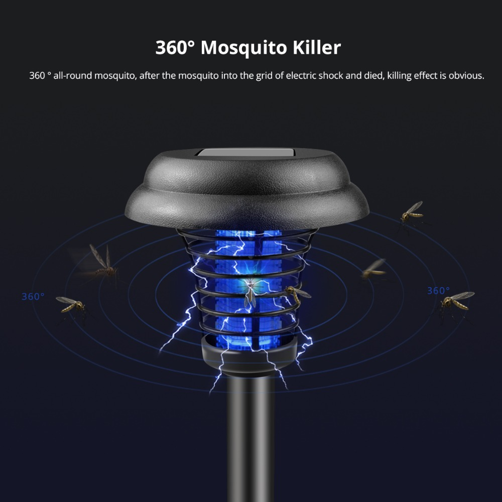 Solar LED Rechargeable Mosquito Killer lamp Electronic Fly Bug Zapper Insect pest reject UV Trap light Outdoor Garden Lawn lamp(China)