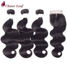 Clover Leaf Body Wave Hair Weave Bundles With Closure 100 Human Hair 3 Bundles With Lace Closure Brazilian Remy Hair Extension(China)