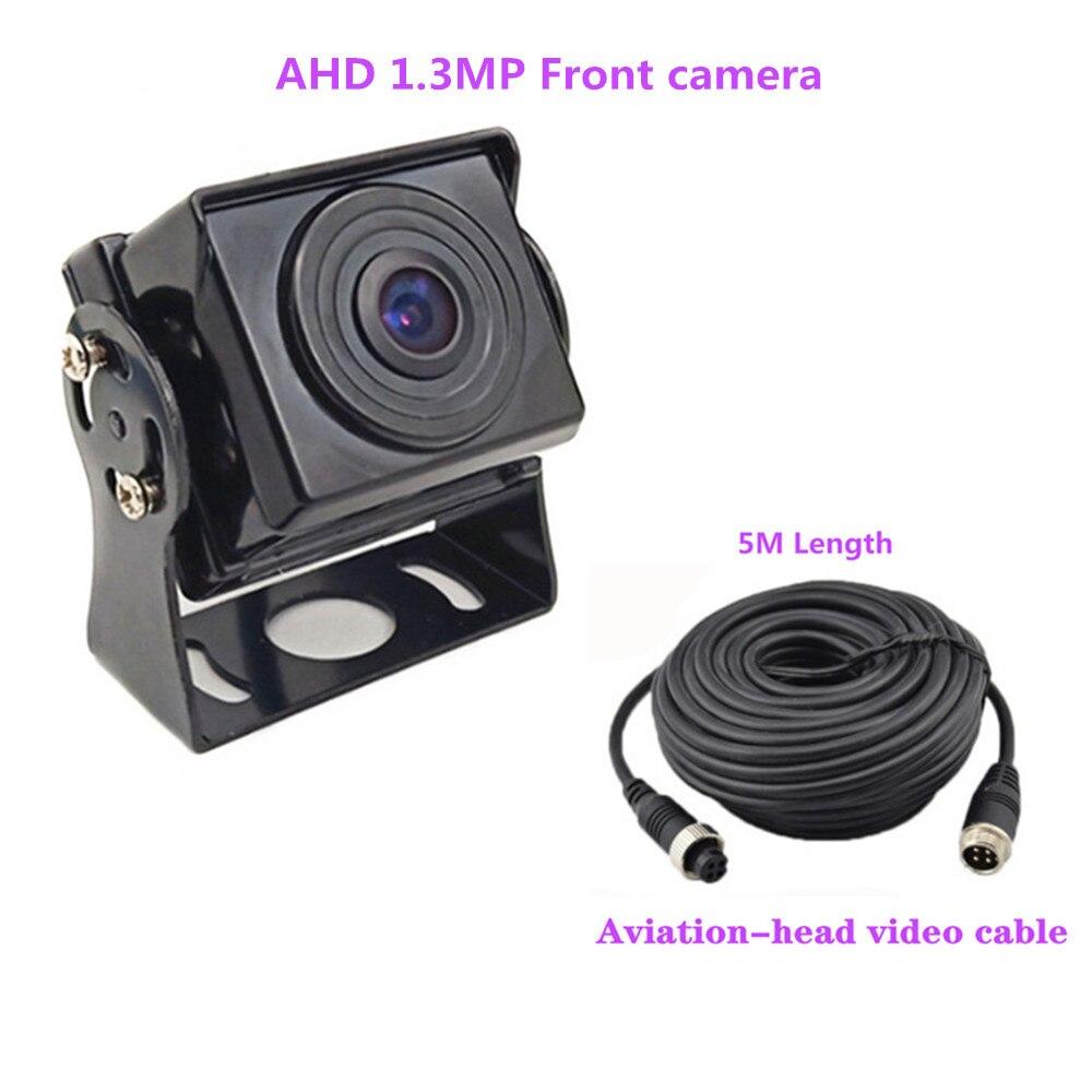 Горячие Новые 7 дюймов ips 2 с разделенным экраном 1024*600 AHD автомобильный монитор Автомобильный видеорегистратор DVR или AHD фронтальная камера/камеры заднего вида по желанию - Цвет: Front cam2 5Mcable