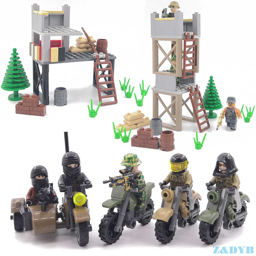 Single Sale Soldiers Military Model Building Figures Motorcycle Army Weapon Gun PUBG Gun War Legoed Block Brick For Children Toy