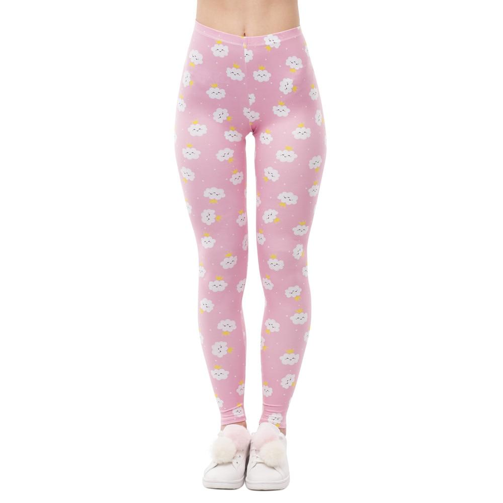 New Design Women High Waist Legging Rincess Cloud Printing Fitness Leggings Fashion Elegant Woman Pants