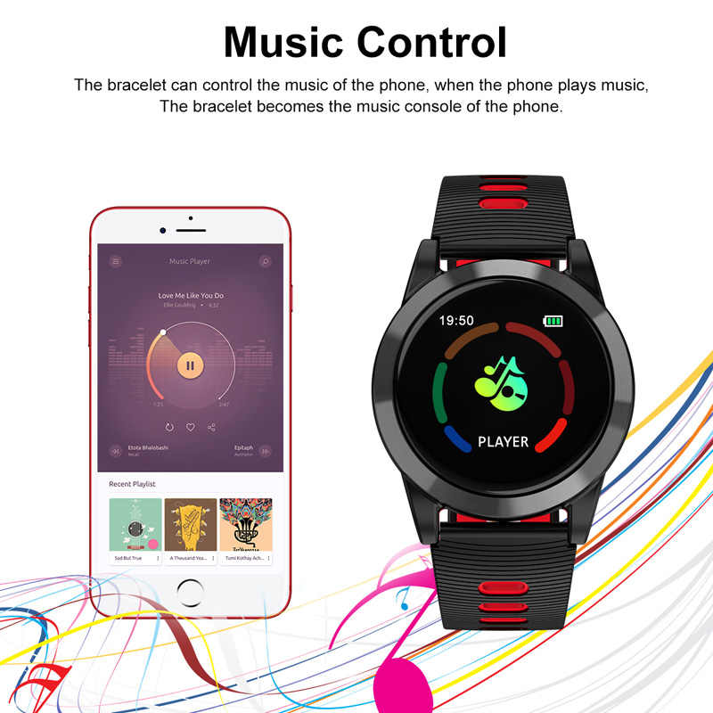 f796f9beb ... Reloj inteligente R15 hombres Android IOS banda inteligente de pulsera  de Fitness sueño Monitor de Fitness ...