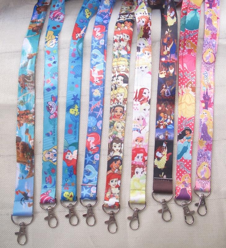 50 pièces lots en gros princesse dessin animé Anime collier sangle longes téléphone portable PDA clé ID sangle charmes