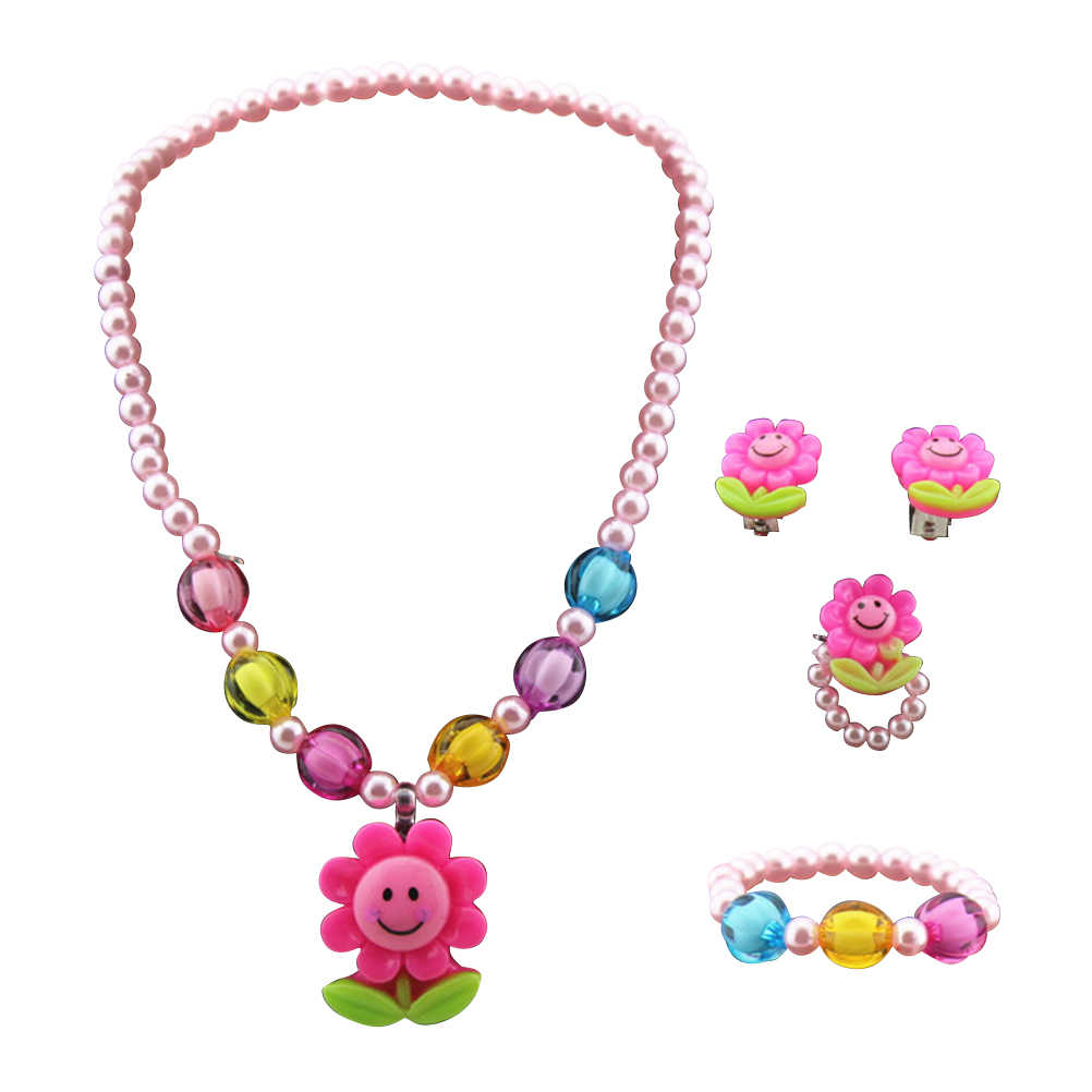 PIXNOR 4pcs/set Plastic Sunflower Necklace Bracelet Ring Earring Cute Stylish Kid's Jewelry Set for Girl Children