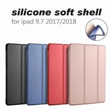 Для iPad 9,7 2017 2018 чехол A1822 A1893 Силиконовые Мягкий Назад из искусственной кожи Smart Cover для iPad 2018 чехол 9,7 дюймов 2017 чехол