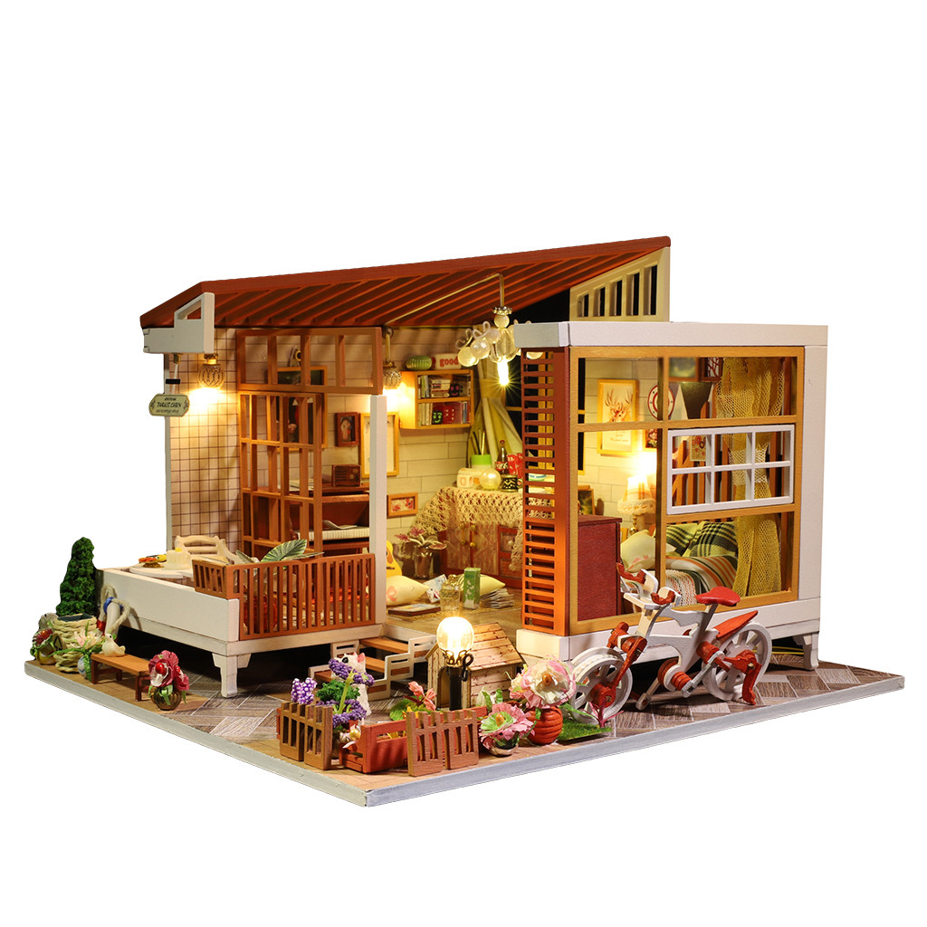 3D Wooden DIY Miniature House Furniture Model LED House Puzzle Decorate Creative Gifts Christmas Gifts Toys For Children Z079