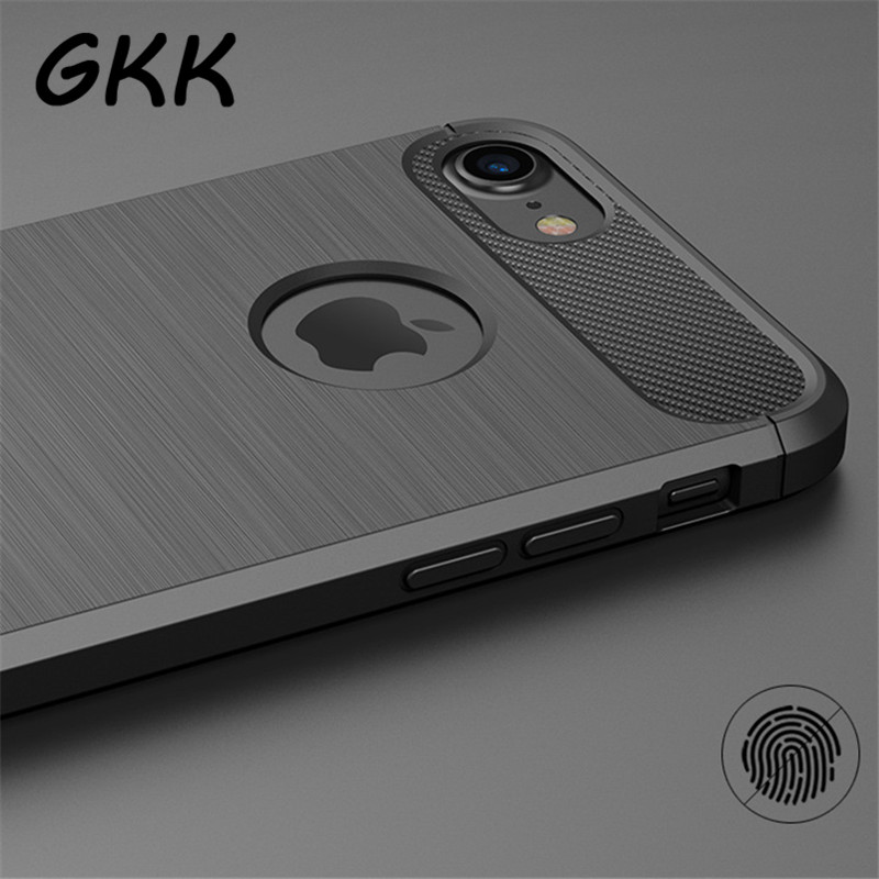 GKK Carbon Fiber Phone Cases For iPhone 6 Case 6s Plus SE 5 5s Cases Soft Anti-Knock Cover For iPhone 7 Case 7 Plus Capa Coque