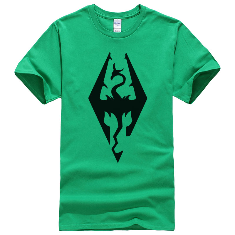 Game The Elder Scrolls Skyrim Tees Cotton Print   t     shirt   Unisex Good Quality   T  -  shirt   Summer Short Sleeve Tops T169