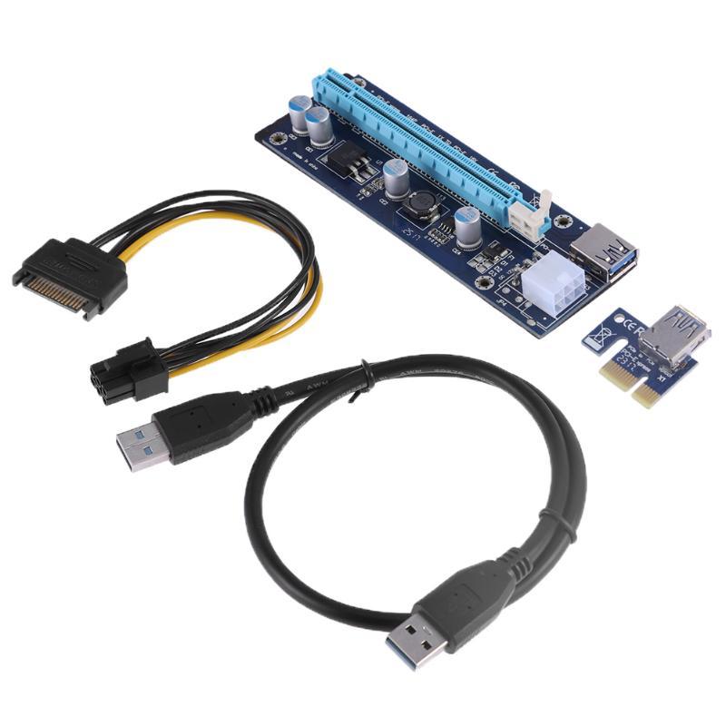 Φ_ΦAzul Molex 6Pin PCIe pci-e tarjeta PCI Express Riser 1x a 16x USB ...