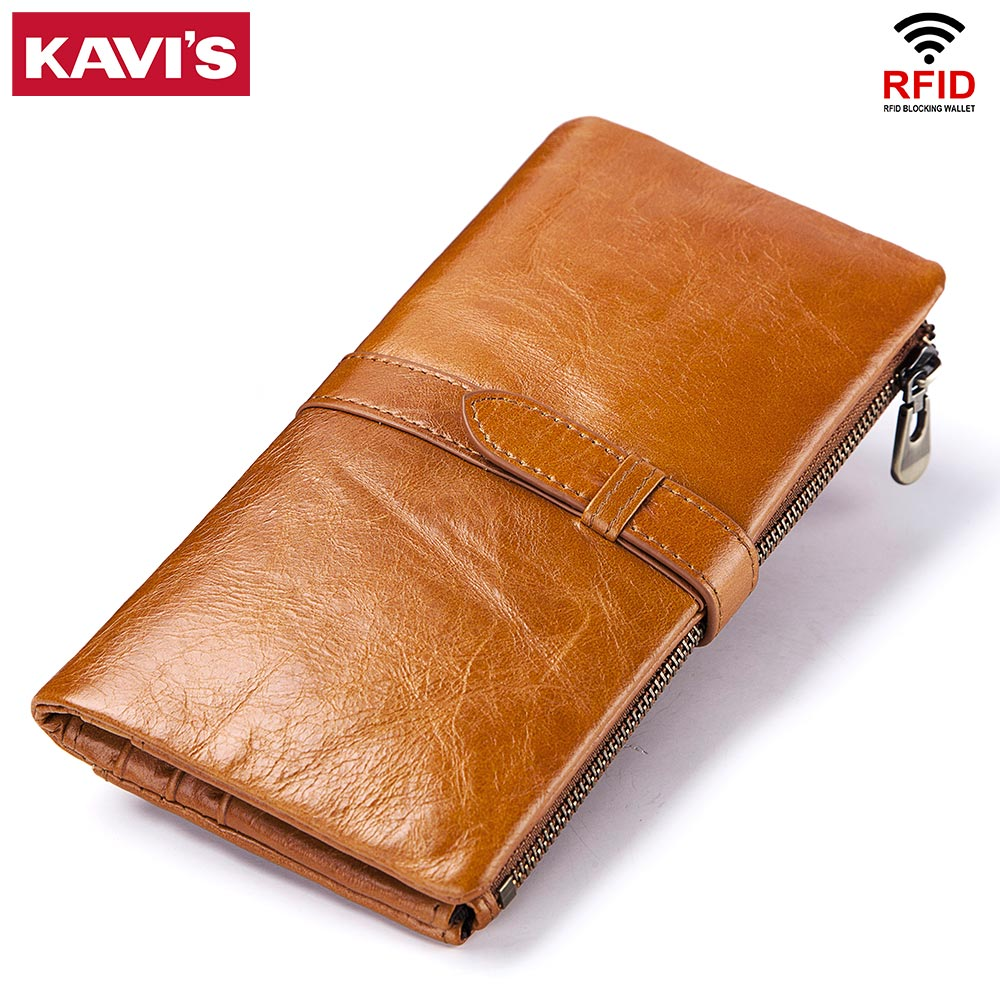 KAVIS Cow Genuine Leather Women Wallet Female Coin Purse Walet Portomonee Clutch Money Bag Lady Handy Card Holder Long For Girls
