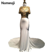 цена на Real Sample Lux Golden  2016 New Formal Mermaid Evening dresses Sexy  Evening Gowns robe de soiree